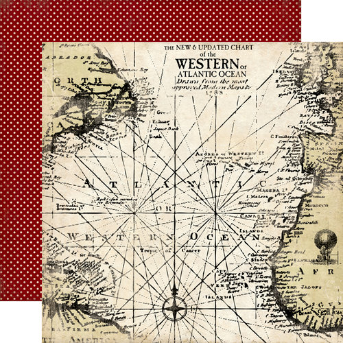 Carta Bella Paper - Well Traveled Collection - 12 x 12 Double Sided Paper - Antique Map