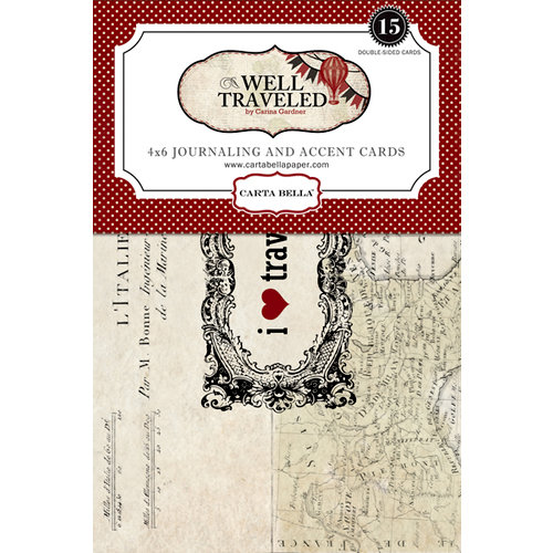 Carta Bella Paper - Well Traveled Collection - 4 x 6 Journaling and Accent Cards