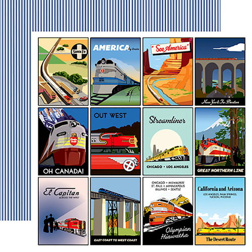 Carta Bella Paper - All Aboard Collection - 12 x 12 Double Sided Paper - 3 x 4 Journaling Cards