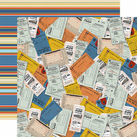 Carta Bella Paper - All Aboard Collection - 12 x 12 Double Sided Paper - Tickets