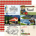 Carta Bella Paper - All Aboard Collection - 12 x 12 Double Sided Paper - 4 x 6 Journaling Cards