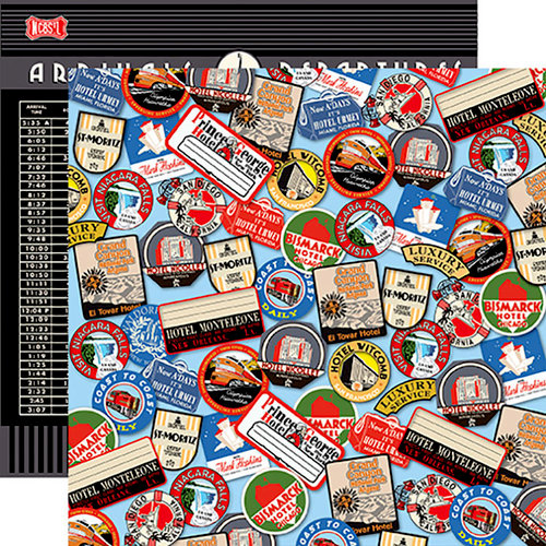 Carta Bella Paper - All Aboard Collection - 12 x 12 Double Sided Paper - Destination Stickers