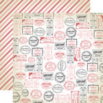 Carta Bella - Amour Collection - 12 x 12 Double Sided Paper - Love Stamps