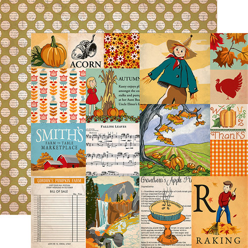 Carta Bella Paper - Autumn Collection - 12 x 12 Double Sided Paper - Journaling Cards