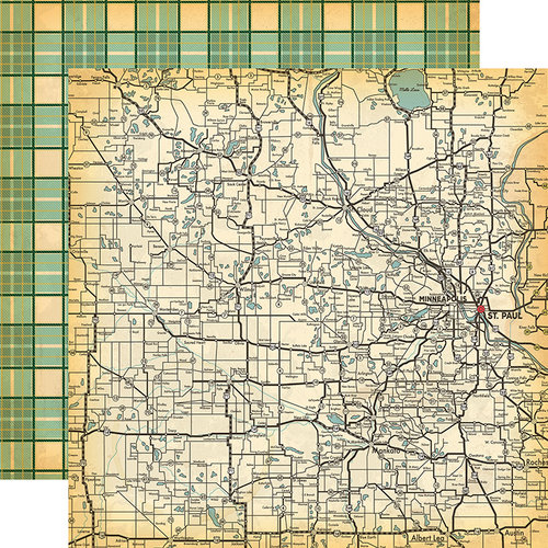 Carta Bella Paper - Are We There Yet Collection - 12 x 12 Double Sided Paper - State Map