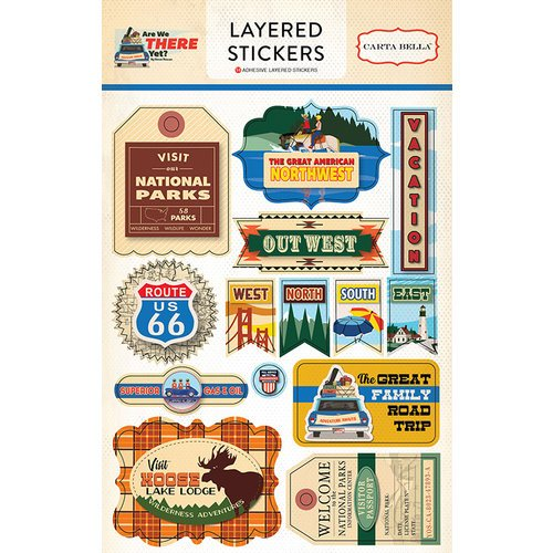 Carta Bella Paper - Are We There Yet Collection - Layered Cardstock Stickers
