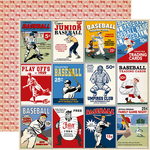 Carta Bella Paper - Baseball Collection - 12 x 12 Double Sided Paper - 3 x 4 Journaling Cards