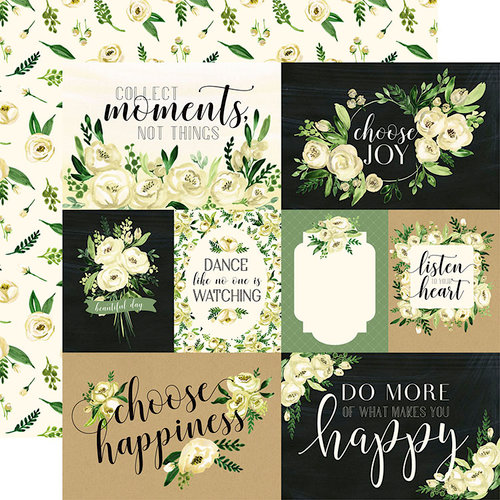 Carta Bella Paper - Botanical Garden Collection - 12 x 12 Double Sided Paper - White Rose - Journaling Cards