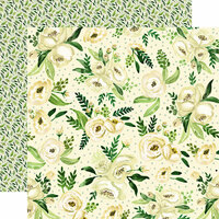 Carta Bella Paper - Botanical Garden Collection - 12 x 12 Double Sided Paper - White Rose - Spray