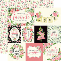 Carta Bella Paper - Botanical Garden Collection - 12 x 12 Double Sided Paper - Sweet Pea - Journaling Cards