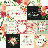 Carta Bella Paper - Botanical Garden Collection - 12 x 12 Double Sided Paper - Poppy - Journaling Cards