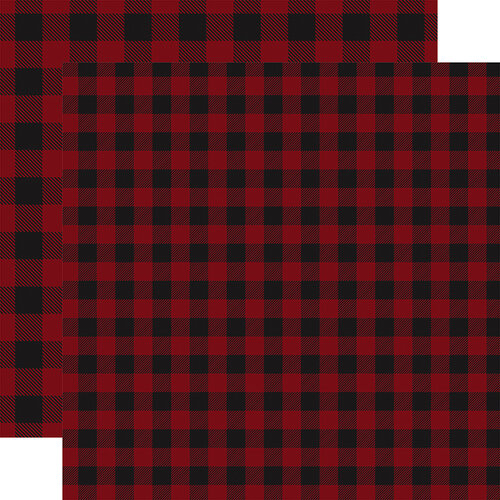 Carta Bella Paper - Buffalo Plaid No. 1 Collection - 12 x 12 Double Sided Paper - Dark Red Buffalo Plaid