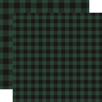 Carta Bella Paper - Buffalo Plaid No. 1 Collection - 12 x 12 Double Sided Paper - Green Buffalo Plaid