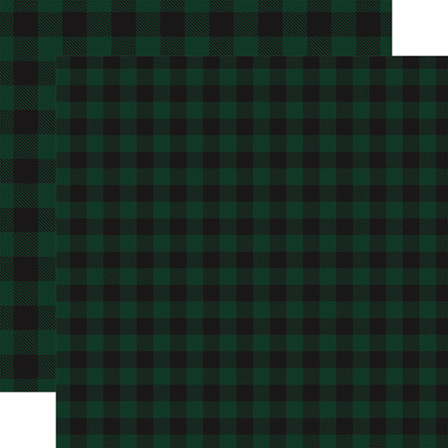 Carta Bella Paper - Buffalo Plaid No. 1 Collection - 12 x 12 Double Sided Paper - Dark Green Buffalo Plaid