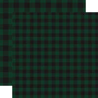 Carta Bella Paper - Buffalo Plaid No. 1 Collection - 12 x 12 Double Sided Paper - Dark Green Buffalo Plaid