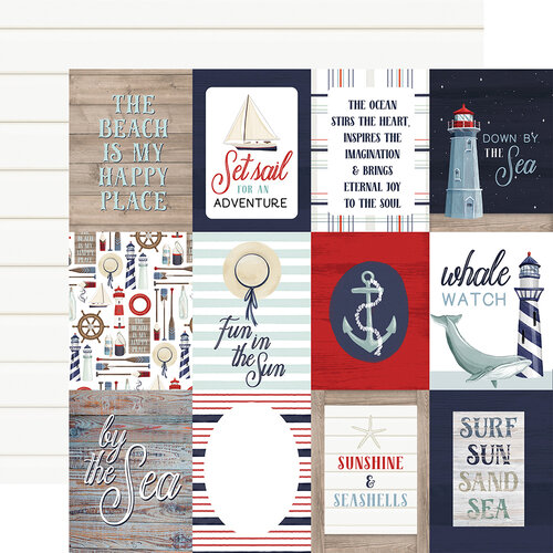 Carta Bella Paper - By The Sea Collection - 12 x 12 Double Sided Paper - 3 x 4 Journaling Cards