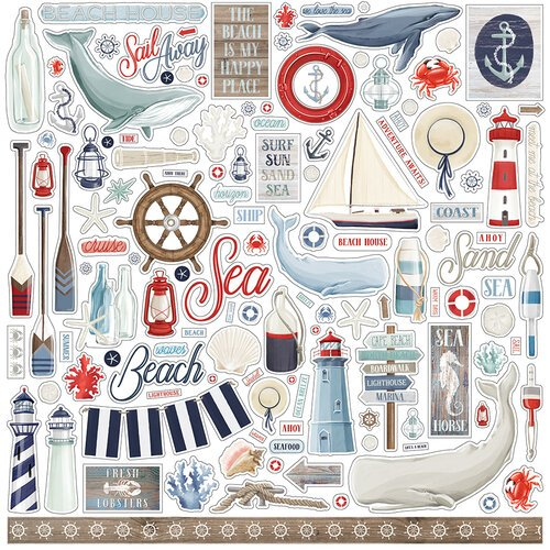 Carta Bella Paper - By The Sea Collection - 12 x 12 Cardstock Stickers - Elements