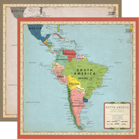 Carta Bella Paper - Cartographer No. 2 Collection - 12 x 12 Double Sided Paper - South America Map