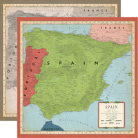 Carta Bella Paper - Cartographer No. 2 Collection - 12 x 12 Double Sided Paper - Spain Map