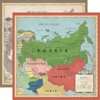 Carta Bella Paper - Cartographer No. 2 Collection - 12 x 12 Double Sided Paper - Russia Map