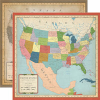 Carta Bella Paper - Cartography No. 1 Collection - 12 x 12 Double Sided Paper - US Map