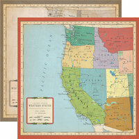 Carta Bella Paper - Cartography No. 1 Collection - 12 x 12 Double Sided Paper - US West Coast Map