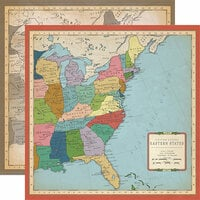 Carta Bella Paper - Cartography No. 1 Collection - 12 x 12 Double Sided Paper - US East Coast Map