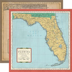 Carta Bella Paper - Cartography No. 1 Collection - 12 x 12 Double Sided Paper - Florida Map