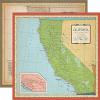 Carta Bella Paper - Cartography No. 1 Collection - 12 x 12 Double Sided Paper - California Map