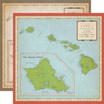Carta Bella Paper - Cartography No. 1 Collection - 12 x 12 Double Sided Paper - Hawaii Map