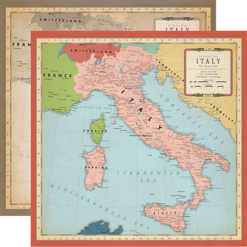 Carta Bella Paper - Cartography No. 1 Collection - 12 x 12 Double Sided Paper - Italy Map