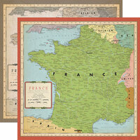 Carta Bella Paper - Cartography No. 1 Collection - 12 x 12 Double Sided Paper - France Map