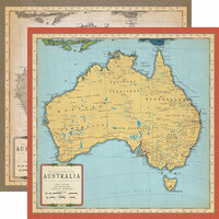 Carta Bella Paper - Cartography No. 1 Collection - 12 x 12 Double Sided Paper - Australia Map