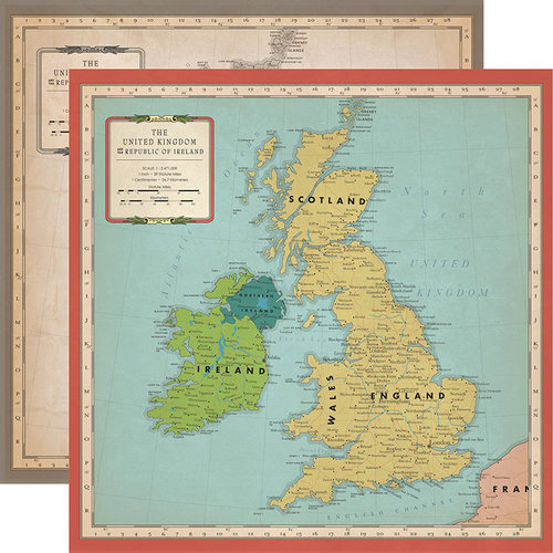 Carta Bella Paper - Cartography No. 1 Collection - 12 x 12 Double Sided Paper - Great Britain Map