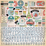 Carta Bella Paper - Cartography No. 1 Collection - 12 x 12 Cardstock Stickers - Elements