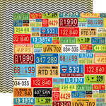 Carta Bella Paper - Cartopia Collection - 12 x 12 Double Sided Paper - License Plates