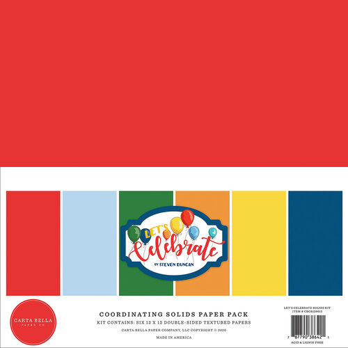 Carta Bella Paper - Let's Celebrate Collection - 12 x12 Paper Pack - Solids
