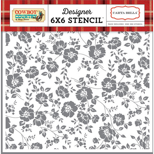 Carta Bella Paper - Cowboy Country Collection - 6 x 6 Stencil - Prairie Floral
