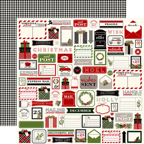 Carta Bella Paper - Christmas Delivery Collection - 12 x 12 Double Sided Paper - Christmas Tags