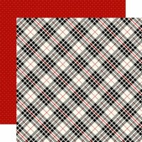 Carta Bella Paper - Christmas Delivery Collection - 12 x 12 Double Sided Paper - Black and Cream Plaid