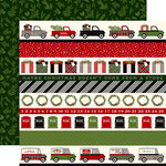 Carta Bella Paper - Christmas Delivery Collection - 12 x 12 Double Sided Paper - Border Strips