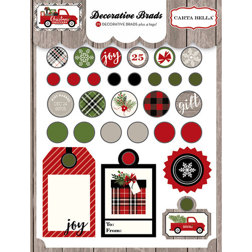 Carta Bella Paper - Christmas Delivery Collection - Decorative Brads