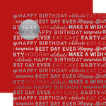 Carta Bella Paper - Celebrate SIlver Foil Collection - 12 x 12 Paper with Foil Accents - Red
