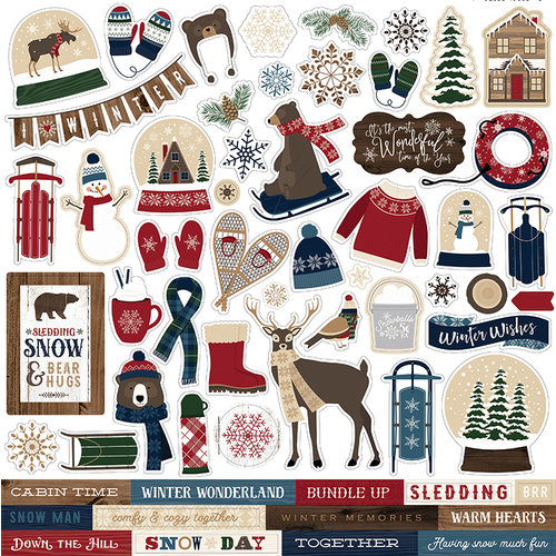 Carta Bella Paper - Cabin Fever Collection - 12 x 12 Cardstock Stickers - Elements
