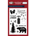 Carta Bella Paper - Cabin Fever Collection - Clear Acrylic Stamps - Cozy and Warm