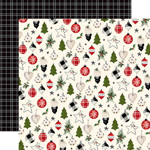 Carta Bella Paper - Christmas Collection - 12 x 12 Double Sided Paper - Festive Ornaments