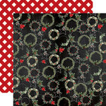Carta Bella Paper - Christmas Collection - 12 x 12 Double Sided Paper - Jolly Wreaths