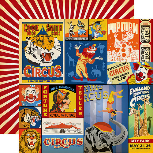 Carta Bella Paper - Circus Collection - 12 x 12 Double Sided Paper - Multi Journaling Cards