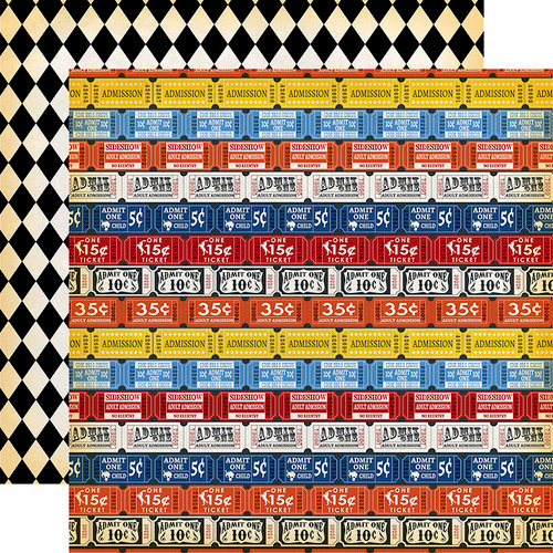 Carta Bella Paper - Circus Collection - 12 x 12 Double Sided Paper - Admission Tickets