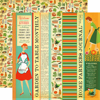 Carta Bella Paper - Country Kitchen Collection - 12 x 12 Double Sided Paper - Garden to Table Strips
